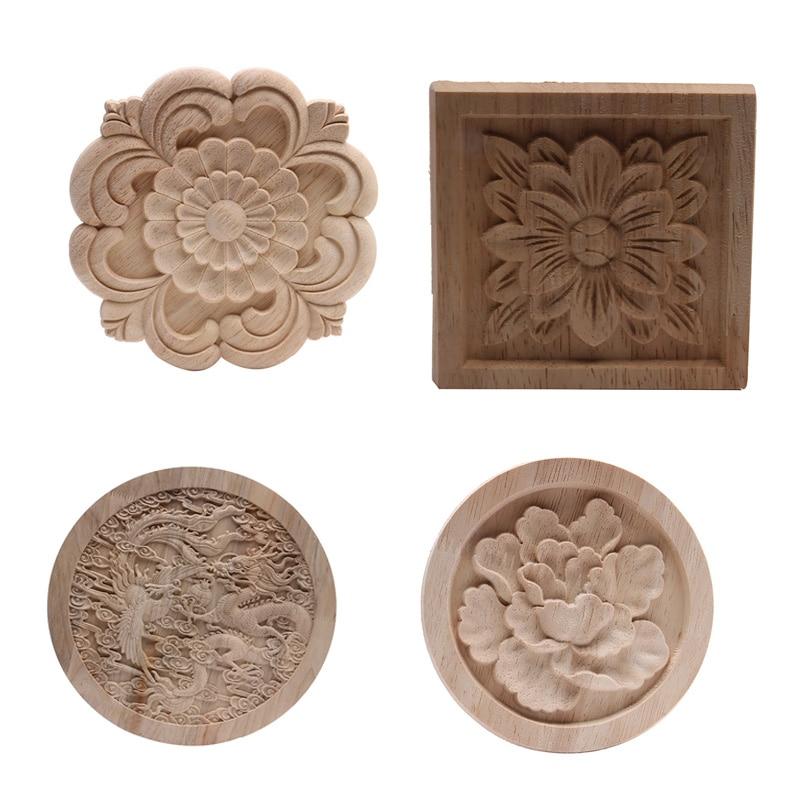 Wood Applique Onlay Wood Decal Wood Frame Wood Craft Rubber Wood  Ornamental European Decoration Furniture Doors Walls Natural