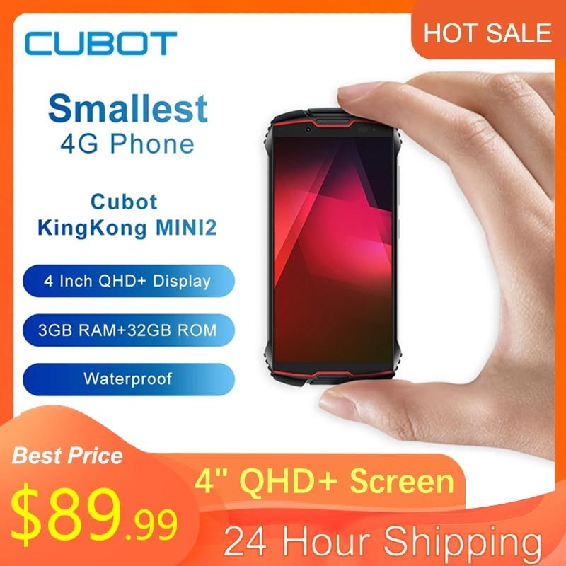 Cubot-teléfono inteligente KingKong MINI 2, teléfono resistente con identificación facial, 3GB RAM, 32GB rom, 4G LTE, pantalla QHD de 4 pulgadas, resistente al agua, Tarjeta SIM Dual, Android 10, cámara de 13.0mp