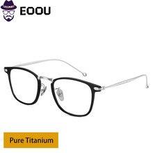 Pure Titanium Glasses Frame Retro Design Men Women Prescription Two-color IP plating  Spectacles Oculos