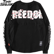 2019 Harajuku Freedom Sakura Sweatshirt Pullover Hip Hop Streetwear Mens Hoodie Sweatshirts Oversized Japanese Style Long Thin
