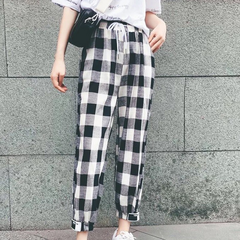 Women Casual Loose Plaid Print Lace Up High Waist Elastic Harem Pants Black Red Capris Fashion Femme Plaid Trouser S1