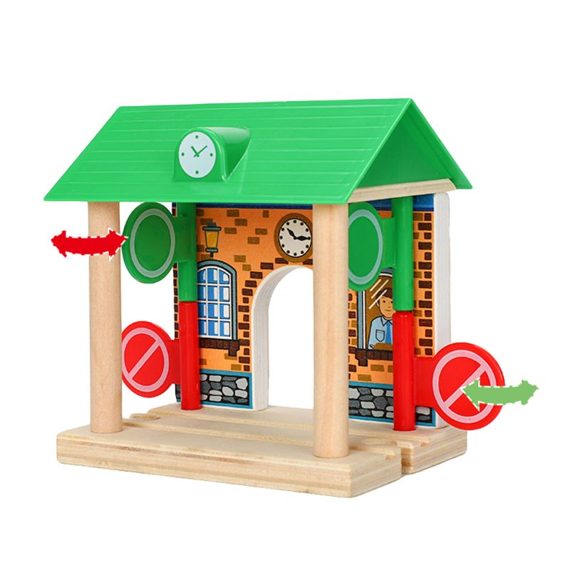DIY Wooden Road block Station Scene Model Track Accessories Kids Educational Toy