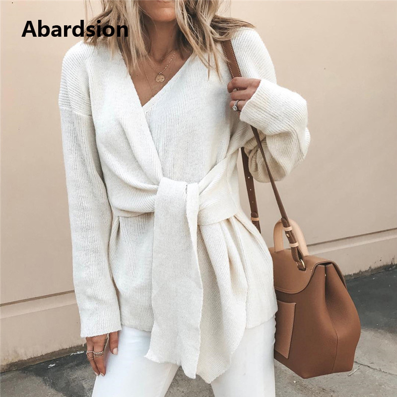Abardsion 2019 Autumn Winter Warm Knitted Sweater Women Jumper Pullover Long Sleeve V Neck Criss Cross Bow Wrap Sweaters