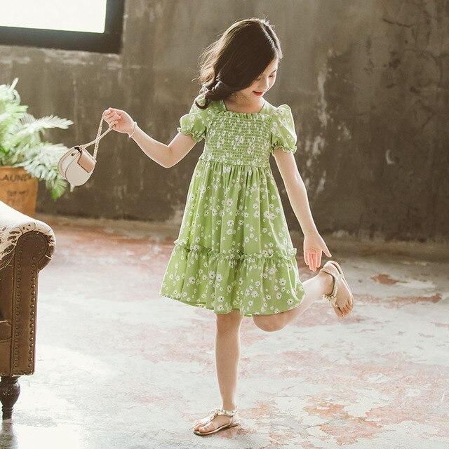 فساتين جديدة على الموضة لعام 2020 للفتيات فستان على شكل زهرة مكشوف الظهر بأكمام قصيرة فستان أميرة ديزي فستان كوري لطيف ملابس صيفية للأطفال
