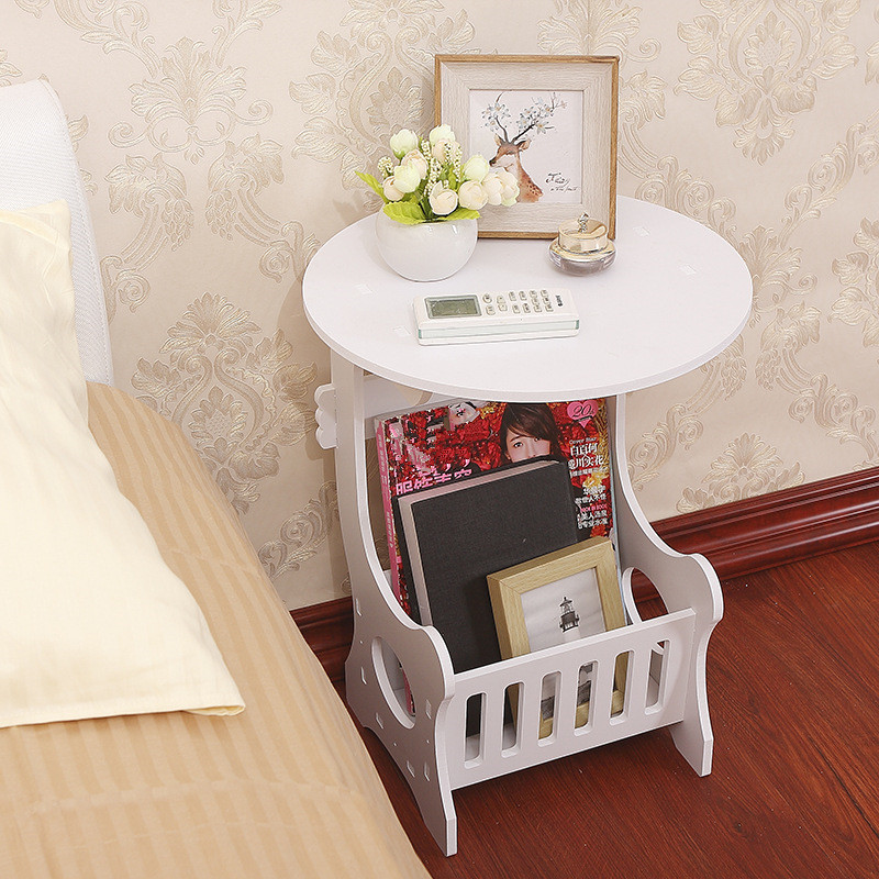 Two Layers Mini White Plastic Round Coffee Tea Table Home Living Room Storage Rack Bedside Table
