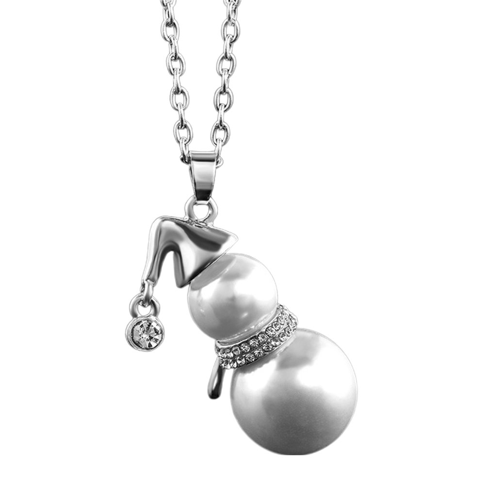 Lovely Fashion Snowman White Pearl Pendant Long Necklace Fr Women Christmas Gift