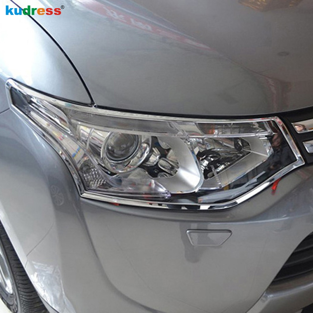 For Mitsubishi Outlander 2013 2014 ABS Chrome Front Head Light Lamp Headlight Cover Trim Sticker HeadLamp Frame Accessories
