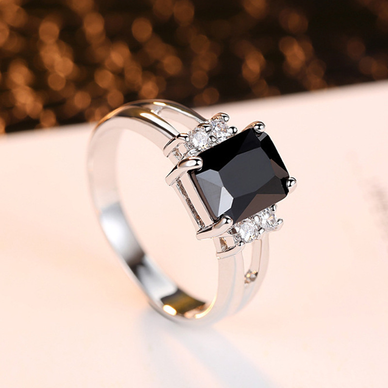 Vintage Male Female Black Square Stone Ring Fashion Silver Color Wedding Band Crystal Promise Engagement Rings For Men And Women(China)