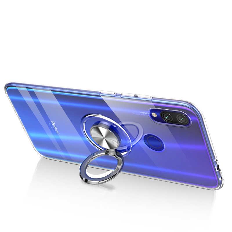 Magnes przezroczyste na telefon etui na xiaomi Redmi 7 Y3 uchwyt pierścień, odporna na wstrząsy etui na xiaomi Redmi Y3 7 Funde Coque