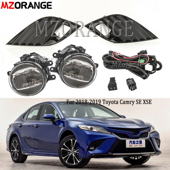 LED DRL Fog Lights For Toyota Camry 2018 2019 SE XSE Switch Harness Lamp Cover foglights headlights daytime running lights new arrival led drl daytime running light fog lamp for toyota camry 2015 top quality 100% waterproof pure white