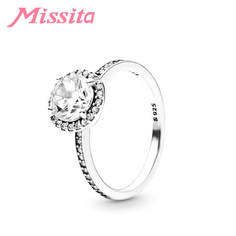 MISSITA 2019 ใหม่ Shining รอบ Zircon แหวนนิ้วสำหรับผู้หญิง Fit Pan หมั้นเครื่องประดับของขวัญ Dropshipping