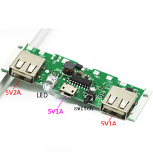 Solar Panel 5V 1A 2A Power Bank Charger Booster Module Charging Circuit Board Step Up Boost Power Supply Dual USB Output DIY KIT