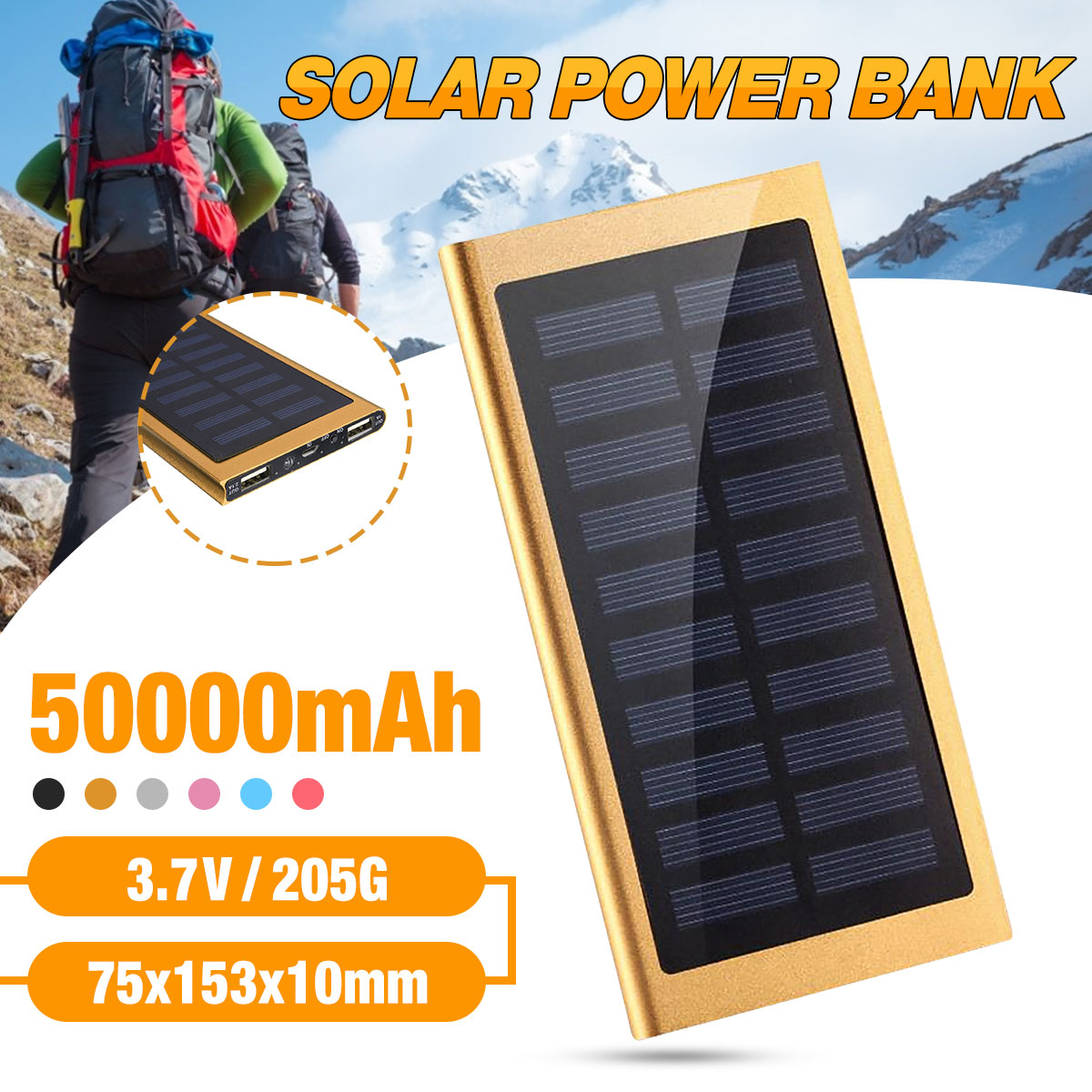 Hot Solar Power Bank 50000mah External Battery 2 USB LED Powerbank Portable Mobile Phone Solar Charger For Xiaomi Huawei Vivo