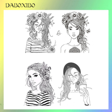DABOXIBO Sexy Beautiful Girl Clear Stamps For DIY Scrapbooking/Card Making/Photo Album Silicone Decorative Crafts13X13