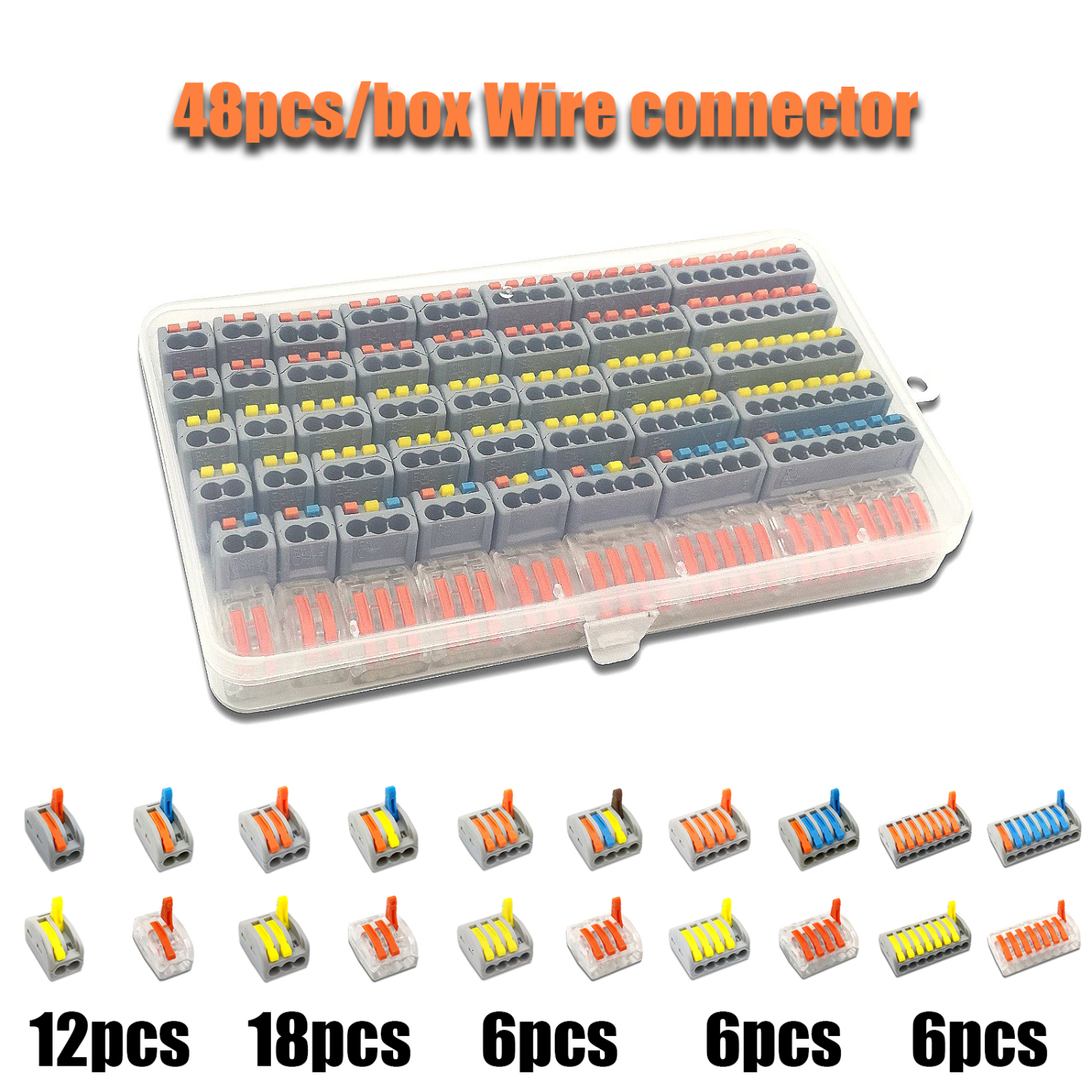 48pcs/box wire connector set box universal compact terminal block lighting wire connector for 3 room hybrid quick connector|Connectors| |  - title=