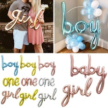 Letter Balloon Script Boy Girl Baby One Foil Rose Gold Balloons for Gender Reveal Baby Shower 1st Birthday Party Decorations baby shower balloons blue pink boy girl foil ballons kids gender reveal first 1st birthday party kids party decorations supplies
