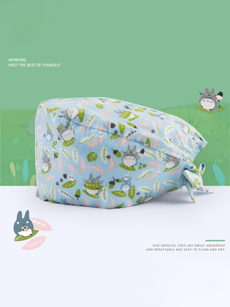 Japanese Totoro Print Surgical Tieback Cap Cotton Cute Nurse Medical Work Hat for Women and Men Adjustable Medicine Hat Cheap