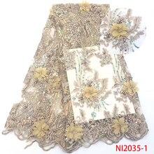 Африканская кружевная ткань Высококачественная кружевная Роскошная французская кружевная ткань с блестками 3D Цветочная Тюлевая талевая кружевная ткань для вечерних платьев KSNI2035