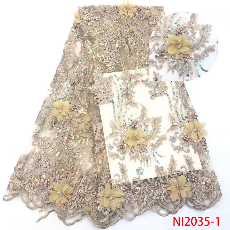 African Lace Fabric 2019 High Quality Lace Luxury French Sequin Lace Fabric 3D Flower tulle Net Laces For Party Dresses KSNI2035