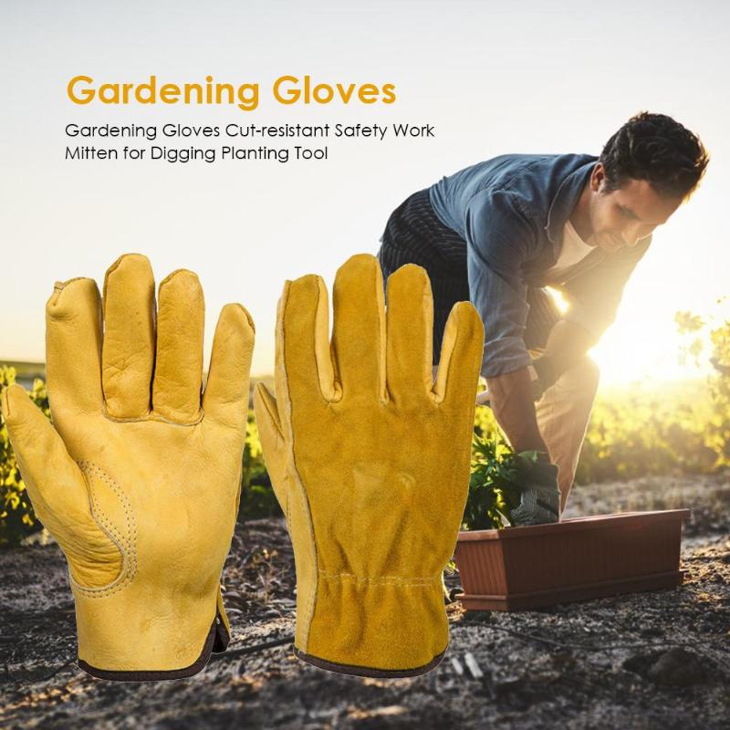 1Pair Heavy Duty Gardening Gloves For Men & Women Thorn Proof Leather Work Gloves, Waterproof Slim-Fit Reinforced Rigger Gloves