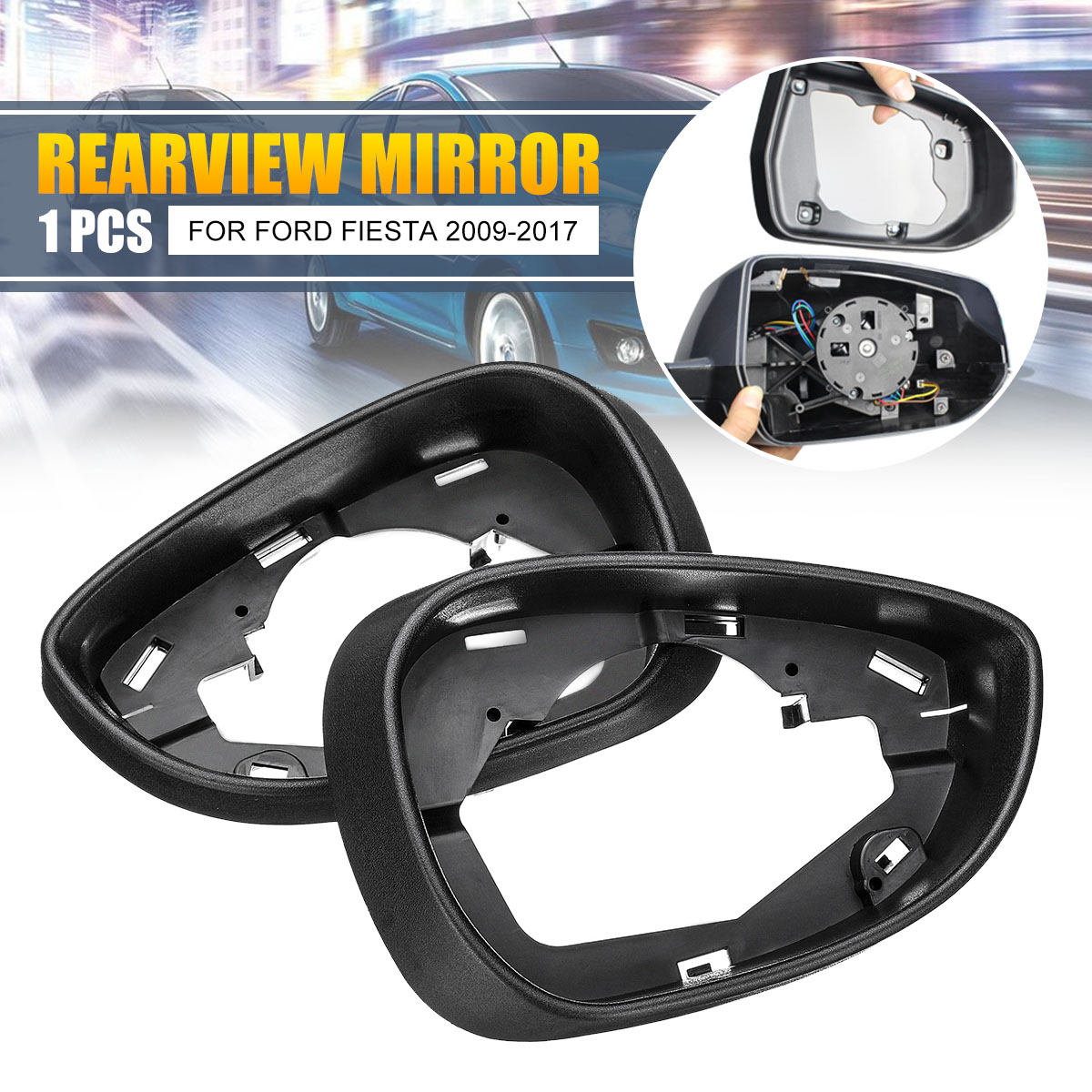 Left Right Side Rear View Mirror Cover Frame Trim And Cover Cap For Ford Fiesta MK7 2009 2010 2011 2012 2013 14 16 17 Mirror & Covers     - title=