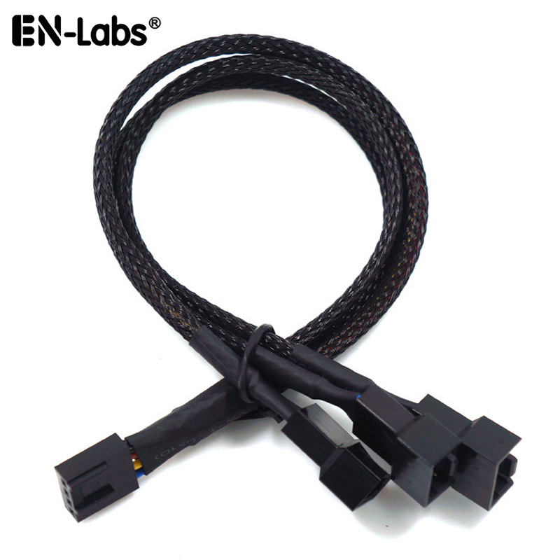 PWM 4pin Fan Sleeved Extension Splitter Hub Cables,Motherboard CPU 4 Pin To 2 3 4 Way 4Pin Cooler Or 3pin Case Fan Power Spliter