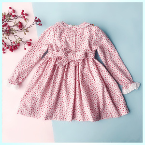 Image 3 - New Spring Autumn Kids Corduroy Printed Peter Pan Collar Handmade Smocking Belt Lace Girls 3 7yrs Full sleeved Cotton Dresses