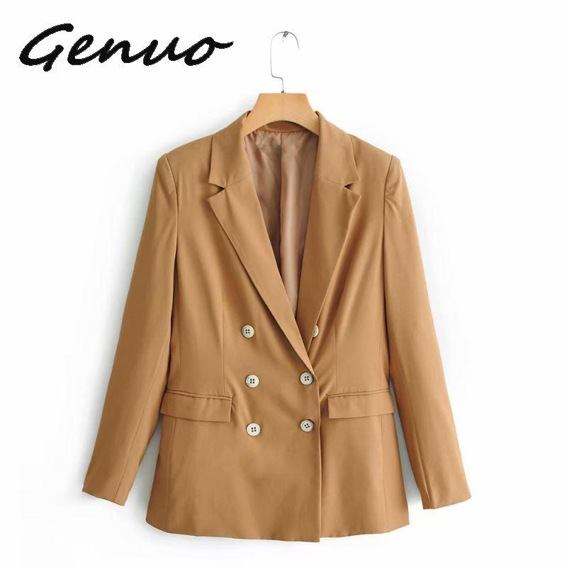Genuo New 2019 Fashion Double Breasted Blazer Women  2019 Autumn Casual High Street Office Lady Outerwear Female Pockets Blazer