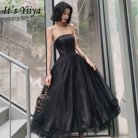 Vestidos de Baile Vestidos de Gala sem Alças sem Mangas Yiiya Tamanho Grande Pouco Chá Preto Comprimento Vestido Formal Feminino E1353 é