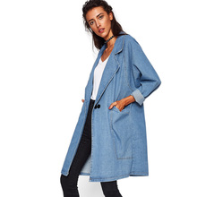 Diwish Denim Trench Coat 2019 Autumn Womens Long New Plus Size Clothes Solid Woman Cloth casual Jazzevar