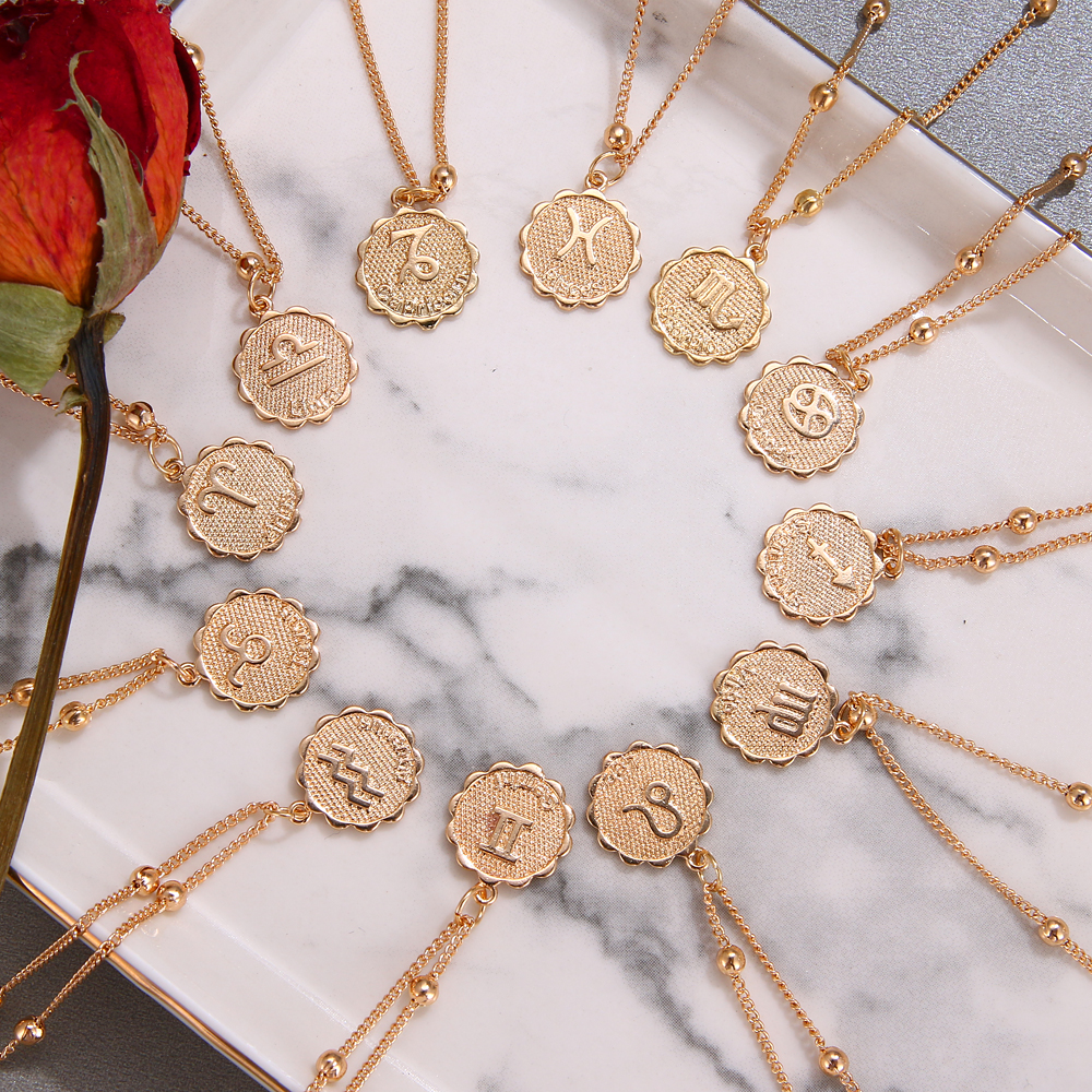 Twelve Horoscope Coin Necklace Women Gold Pendant Zodiac Necklace Leo Clavicle Chain Sign Gift 12 Constellation Female Jewelry(China)