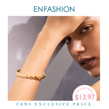 ENFASHION Punk Geometric Hollow Cuff Bracelets Bangles For Women Gold Color Stainless Steel Bangle Fashion Jewelry Gifts B192058