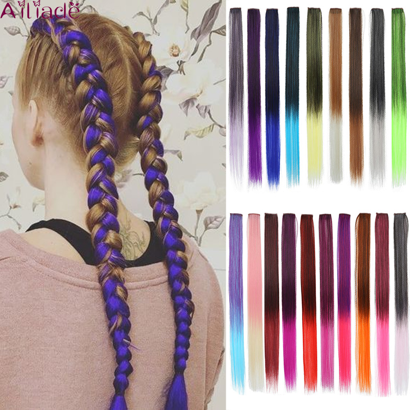 AILIADE Long Straight Clip In One Piece Two Tone Hair Extensions 22 Inch Rainbow Colors Heat Resistant Synthetic For Women Girls