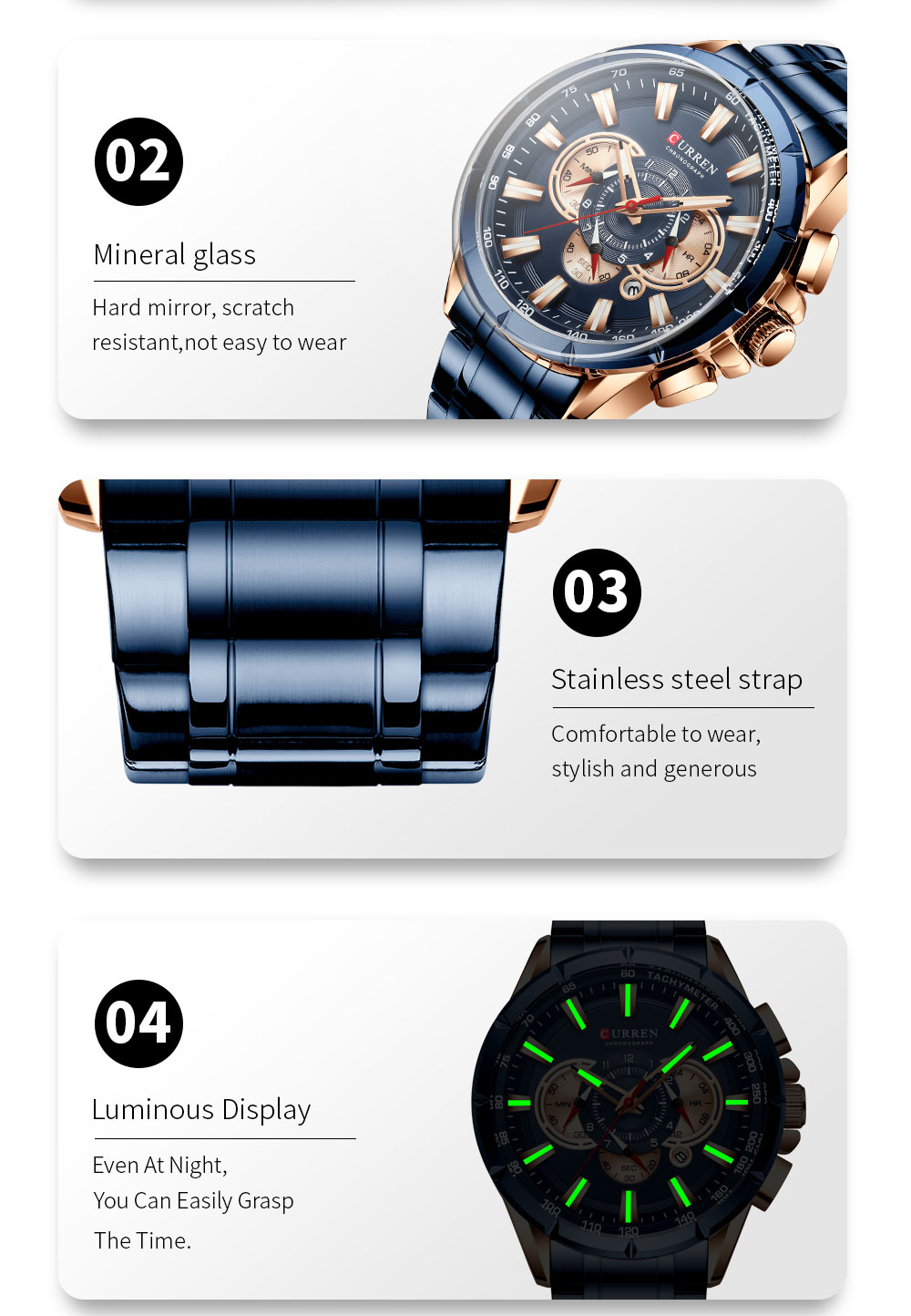 H3b9b29e395684b18921fbbd2e23eeba3T CURREN Wrist Watch Men Waterproof Chronograph Military Army Stainless Steel Male Clock Top Brand Luxury Man Sport Watches 8363
