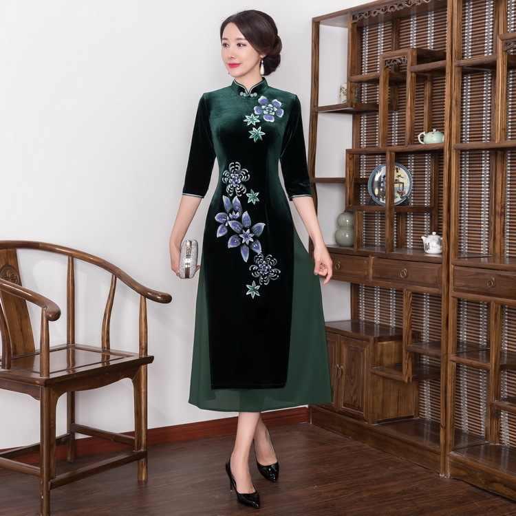 2019 Reale di Vendita Quinceanera Inverni di Autunno È Vietnam Il Vestito di Velluto Cheongsam Lungo Per Ristabilire I Sensi Antichi Coltiva La Sua Moralità