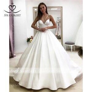 Image 4 - Женское атласное свадебное платье, простое трапециевидное платье со шлейфом и карманами, модель F136, 2019