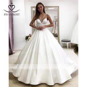 Image 4 - Fashion Sweetheart Satin Wedding Dress Swanskirt Simple A Line With Pocket Court Train Bride Gown Princess Vestido de Noiva F136