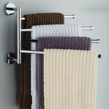Stainless Steel Towel Bar Rotating Rack Bathroom Kitchen Wall-mounted Polished Holder Hardware Accessory