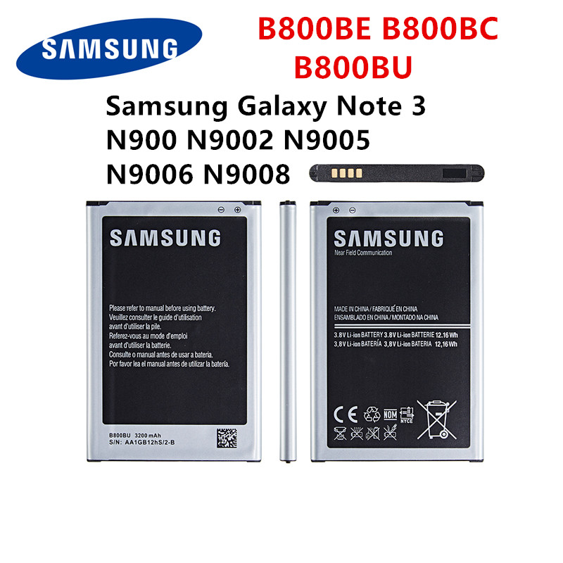 SAMSUNG Orginal B800BE B800BC B800BU Battery For Samsung Galaxy Note 3 N900 N9002 N9005 N9006 N9008 Replacement Battery With WO