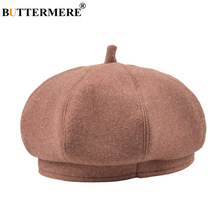 BUTTERMERE Women Hat Wool Beret Autumn Winter Female French Vintage Woolen Brand Casual Ladies Painter Cap