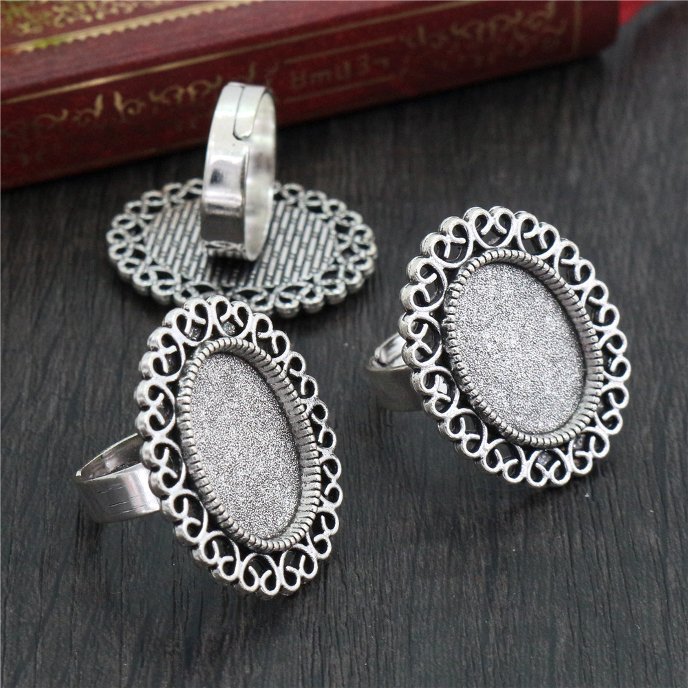 13x18mm 5pcs Antique Silver Plated Brass Oval Adjustable Ring Settings Blank/Base,Fit 13x18mm Glass Cabochons-K6-13