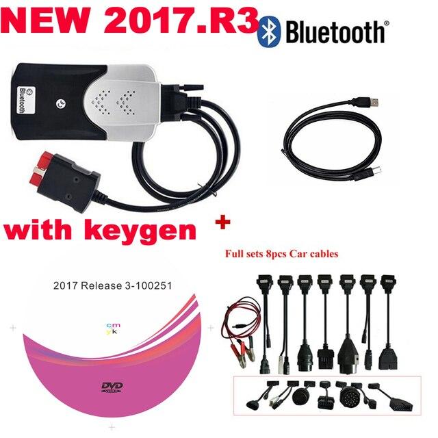 Escáner OBD2 VD DS150E, Bluetooth 2021, keygen para delphis MultiDiag, accesorios de diagnóstico + 8 cables de coche, novedad de 2017