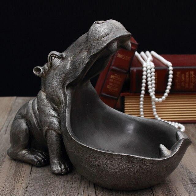 3D Hippo Statue Home Decoration Accessories Desk Sculpture Storage Box Home Decor Figurine Ornament Wedding Party Decorations 3