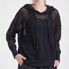 Sportswear Hoodie Yoga-Shirts Workout-Tops Mesh Nylon Clothing Jersey Fitness Loose Black