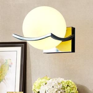 Image 3 - 送料無料】ユニークなクリエイティブ金属ガラスボール壁ランプ led ウォールライト通路廊下寝室のベッドサイドランプ AC85 265V