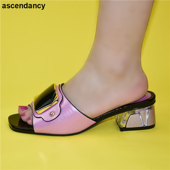 Kolor brzoskwiniowy buty ślubne dla kobiet włoski w kobietach wysokiej jakości buty ślubne afrykańskie buty ślubne damskie Rhinestone eleganckie tanie i dobre opinie ascendancy Pantofle Plac heel CN (pochodzenie) Wysoka (5 cm-8 cm) Pasuje prawda na wymiar weź swój normalny rozmiar Moda