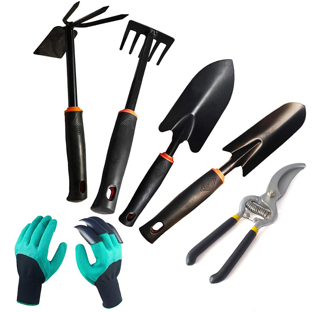 6pcs/Set Mini Gardening Tools Set Durable Steel Hand Weeding Fork Transplanting Digging Tool Potted Garden Planting Hand Tool 30