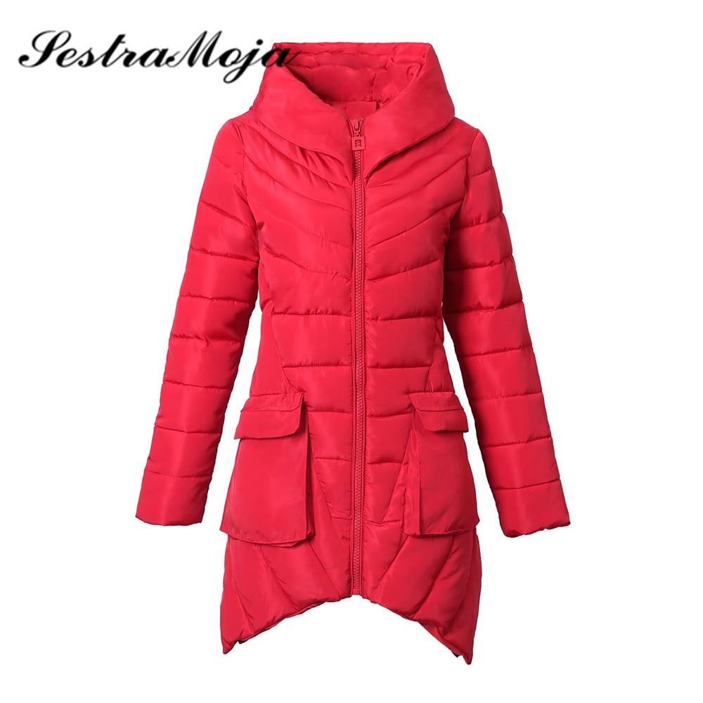 Sestra Moja Irregular Autumn Winter Slim   Down     Coat   New Women's Warm Long   Down   Jacket Solid Pocket Cotton   Coat   Jacket Plus Size