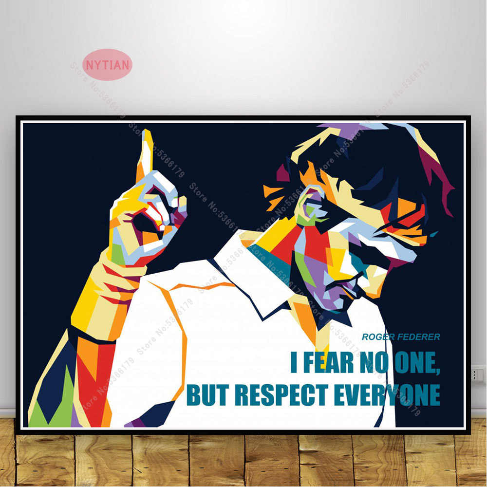 nt882 hot artwork great star gift roger federer quote poster print oil painting wall art canvas picture living home room decor