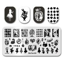 Mais novo prego selo mouteen024 desenhos animados unhas alice poker menina prego placas de carimbo manicure conjunto para a arte do prego carimbo